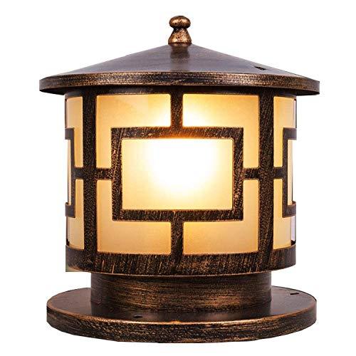 DEI QI Europäische Weinlese-traditionelle geführte kreisförmige Glaslaterne Wasserdichte Pfosten-Wand-Spalten-Lampe antike Bronzealuminiumvilla-Garten-Lichter (Size : 25CM) -