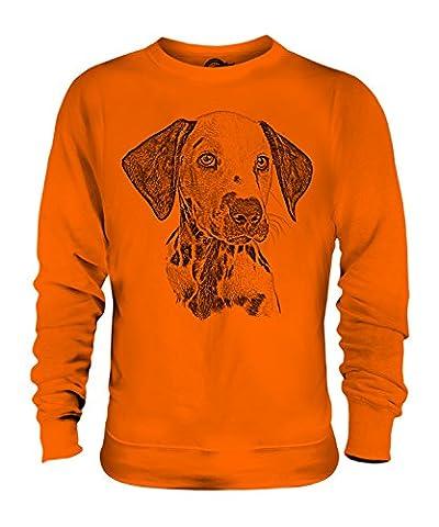Candymix - Dalmation Dog Sketch - Unisex Sweatshirt Mens Ladies Sweater Jumper Top, Size 2X-Large, Colour Orange