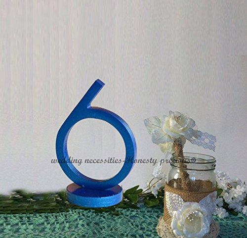 Hochzeit Tisch Zahlen Dramatische Art Deco inspiriert tablescape 1–20(12,7cm Höhe, blau, 12.7cm height (Hochzeit Tablescapes)