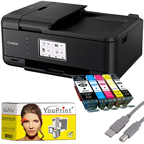 Canon PIXMA TR8550 Drucker Tintenstrahl-Multifunktionsgerät schwarz (Drucker, Scanner, Kopierer, Fax) mit 5 komp. YouPrint® Druckerpatronen PGI-580/CLI-581 XXL