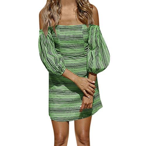 Schulterfrei Sommerkleid Solide Kleider A-Linie Cocktailkleid Laternenhülse Minikleid Mit Gürtel Partykleid Frauen Kleider Dreiviertel Ärmel ()
