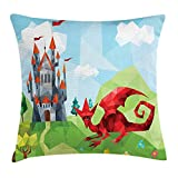 WCMBY Castle Throw Pillow Cushion Cover, Low Poly Dragon and Medieval Castle Landscape Geometric Illustration Abstract Design, Decorative Square Accent Pillow Case, 18 X 18 inches, Multicolor