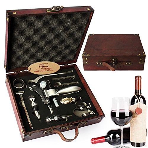 yobansa Antik Holz Box Wein Zubehör Geschenk Set, Kaninchen Wein Flaschenöffner Kit, Wein Korkenzieher Wein Stopper und Luftsprudler Ausgießer Set 9set - Wein Antik