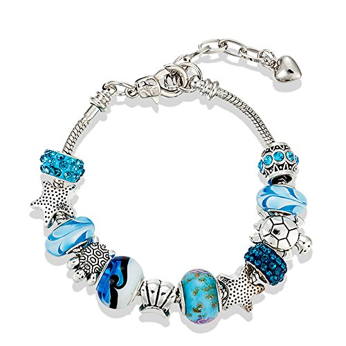 European Ocean Beach Charm Beads Adjustable Chain Bracelet 19.1 cm + 3.8 cm for Ladies and Teenage Girls Sea Starfish Turtle Shell Aquamarine Murano Glass Beads Prime Quality Gift 925 Silver Plated (Native American Hochzeit)