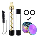 Pawaca Twisted Glass Blunt Kit, Mini Glass Pipe + Grinder + Brush for Dry Herbs, Safe Durable Easy Clean