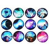 Souarts 5.5mm Mix Druckknöpfe Click Buttons Glas Druckknöpfe mit Mehrfarbigen Sternenhimmel Muster (12er Set)