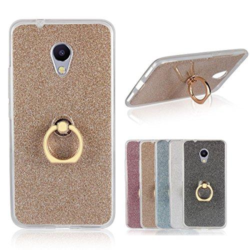 Custodia Per MEIZU M5S, Sunrive Trasparente Custodia Cover TPU con 360 gradi di rotazione dell'anello Cavalletto + Carta Ultra Sottile Glitter Sparkle Bling Bling(d'oro)