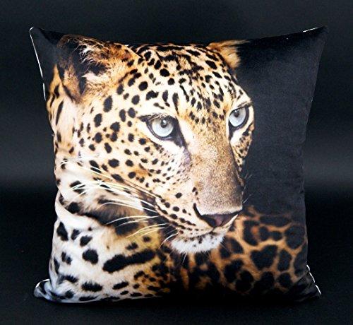 Design Kissenhülle mit hochwertigem Fotodruck Digitaldruck auf super weicher Velour Qualität in 40x40 cm mit Reißverschluß - Leopard - Kissen Tiger Afrika Safari Typ324 (Leopard Kissen)