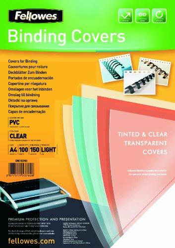 Fellowes Cristal - Portadas para encuadernar de PVC transparente, A4