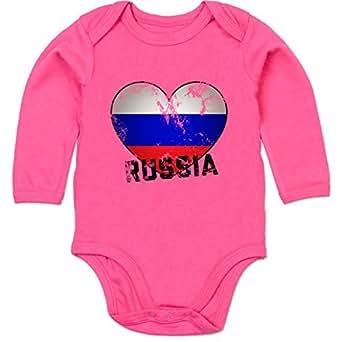 BZ30 Bio Baby Jungen Mädchen Strampler langarm ohne Bein – EM 2016 Frankreich Babys – Russia Herz Grunge