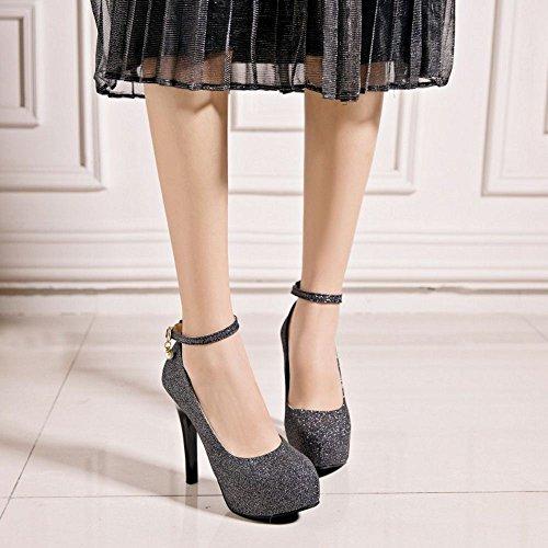 COOLCEPT Damen Mode Knöchelriemchen Pumps Plateau Stiletto Party Shoes Big Sizes Black