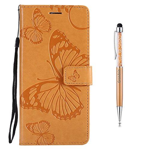 Grandoin Moto E5 Hülle, Handyhülle im Brieftasche-Stil für Motorola Moto E5 Handytasche PU Leder Flip Cover Schmetterling Muster Design Premium Book Case Schutzhülle Etui Case (Gelb)