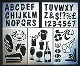Set di stencil con immagini di vino, caffè e snack, lettere A - Z e numeri 0-9 SECSTN