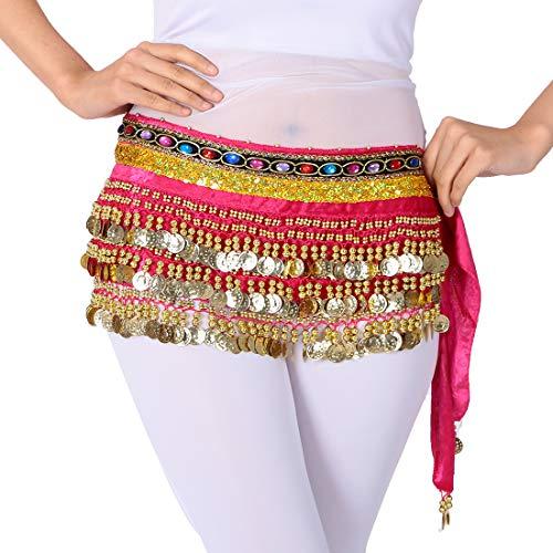 Bauchtanz Hüfttuch Rock Gürtel Taille Kette mit goldenen Münzen, Bunte Tanzen Outfits Rave Music Festival Kostüm für Frauen (Rose-Rot) (Bauch-tanzen-röcke-silber-münzen)