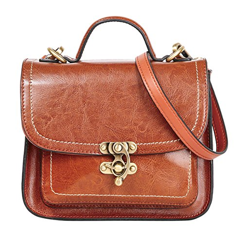 - 51sBxsvd1EL - Leathario Retro Genuine Leather Cross Body Bag Cambridge bag Messenger Totes Women Vintage Purse