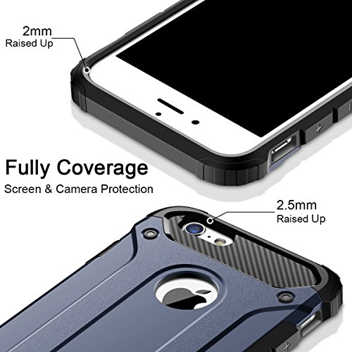 iPhone 6S Hülle, Coolden Premium Outdoor Case Doppelte Schutz Soft Flex Silikon TPU + Schlanke PC Bumper Cover Militärstandard Stossfest Schutzhülle für iPhone 6s Handyhülle iPhone 6/6s Case (Schwarz) Marine