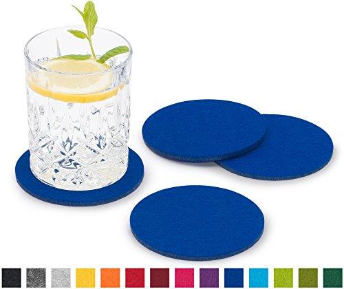 FILU Filzuntersetzer rund 8er Pack (Farbe wählbar) blau - Untersetzer aus Filz für Tisch und Bar...