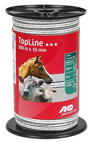 Ako Weidezaunband TopLine 200 m TriCOND, Breite:10 mm;Farbkombi:weiß/schwarz