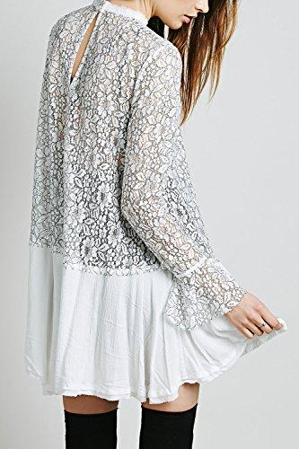Les Femmes Vintage Irrégulier Lace Vider Patchwork Swing Drapée Mini - Robe Tunique white