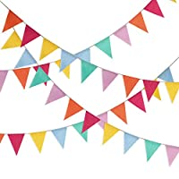 Hestya Multicolor Pennant Banner 42 Pieces Triangle Flag Bunting for Party Hanging Decoration