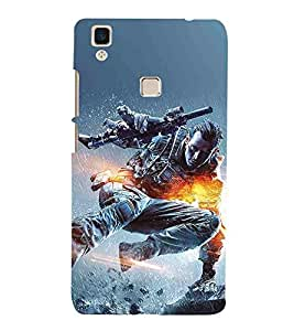 For Vivo V3Max man with gun, fighter man, rain, fire Designer Printed High Quality Smooth Matte Protective Mobile Case Back Pouch Cover by APEX