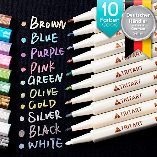 Tritart Profi Metallic Stifte Set für Fotoalbum - Scrapbook - Glatte Oberflächen   10 Metallic Marker Pens -