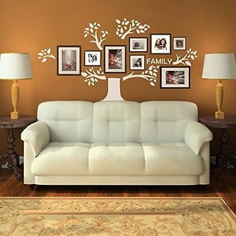 mairgwall Árbol de familia adhesivo de pared de gráficos Galería de fotos pared dormitorio vinilo, sin marcos de fotos, vinilo, Blanco, XL