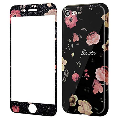 Wafly Handyhülle iPhone 7 Blumen,iPhone 8 Hülle mit Panzerglas, Soft Silikon Ultra Dünn Schutzhülle mit Muster 9H Full Screen Panzerglasfolie,4,7''-Stoßfest, Anti-Shock, Anti-Fingerabdruck (Kamelie)