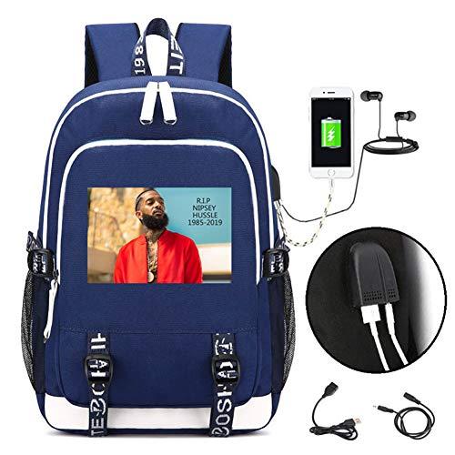 Sieg-computer-tasche (yuhiugre Unisex Nipsey Hussle Reise Laptop Rucksack mit USB-Ladeanschluss College Rucksack für Gedenken blau)