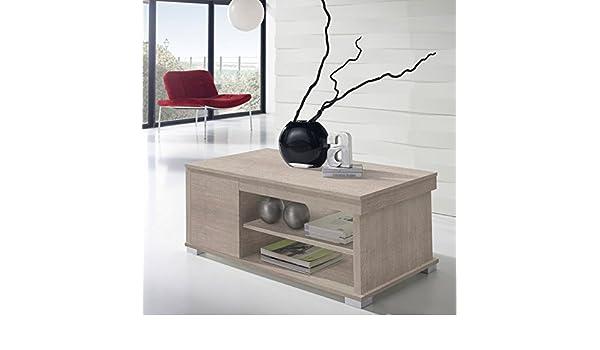 Basse 2 Table chêne Clair Tousmesmeubles relevable tiroirs T1KlFJc3