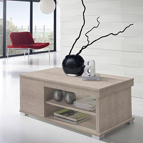 Tousmesmeubles Table Basse chêne Clair relevable - ESSA - L 110 x l 60 x H 44/58 - Neuf