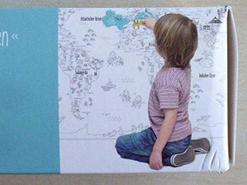 WU985829, RIESEN Lernposter zum Ausmalen, 100 x 70 cm, inkl. Buntstifte, Anspitzer und Radiergummi, für kleine und grosse Entdecker, Weltkarte mit Tieren und Wahrzeichen