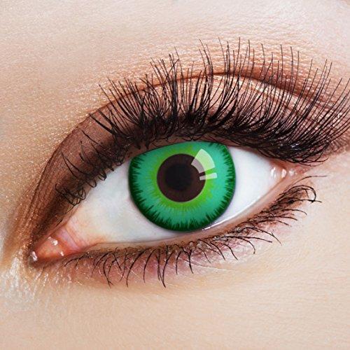 aricona Kontaktlinsen Farblinsen grüne Kontaktlinsen ohne Stärke Jahreslinsen Halloween - Dunkle Elfen Kostüm Kontaktlinsen