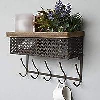 YOIL Perfect Home Furniture Vintage Industrial Style Metal Wall Shelf Unit Rack Coat Hooks Storage Basket