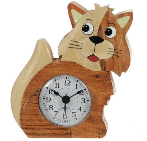 Katze -Wecker Kinder - Analog - aus Holz gemacht - Hölzerne Weihnachtsgeschenkidee