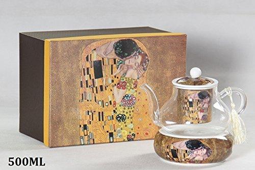 Gustav Klimt Tee Kaffeekanne 'Der Kuss' Porzellan/Glas beige