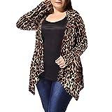 ZARLLE Atractiva del Moda Estampado de Leopardo Kimono Cardigan Chal de Gasa Camisetas de Manga Media Túnica Slim Fit Outwear clásico Ideal para la Vida Diaria Fiesta Playa