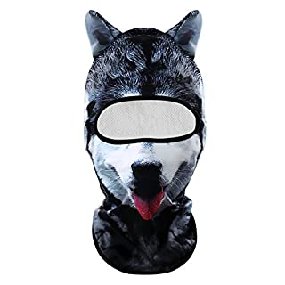 3D Animal Balaclava Neck Face Mask Hat Breathable Hood Motorcycle Cycling Ski Outdoor Sports Halloween Party by Alxcio - Black