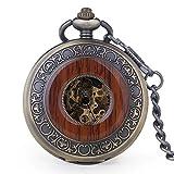 Vintage Holz Mechanische Taschenuhr römischen Ziffern Creative Carving Luxus Holz Uhren Anhänger Kette