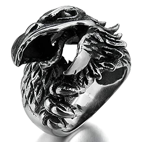 Aooaz Stainless Steel Ring For Men Eagle Bird Wedding Band Silver Black Vintage Free Engraving Size
