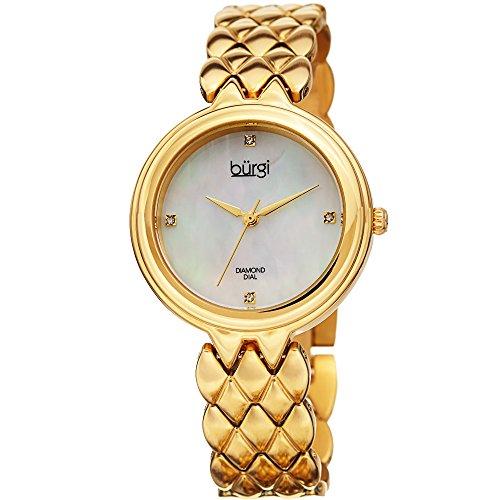 Burgi Femme Bur193yg Diamant Accented Cadran Nacré Jaune doré en Acier Inoxydable Bracelet de Montre