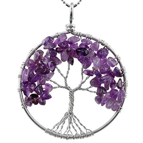 KYEYGWO Baum des Lebens runde hängende Halskette für Unisex, Hand Chakra Chip Kristallstein Draht eingewickelt Anhänger mit Kette, Amethyst -