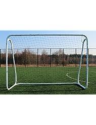 Hudora 300 cm Fußballtor mit 50,5 mm starkem Rohrrahmen und 1 mm Wandstärke Tor mit weißem Rohrahmen
