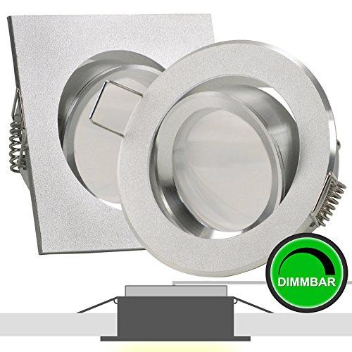 1er Set 230V LED Decken Einbaustrahler BINARO (rund) Alu Silber; Modul 5W = 50W; DIMMBAR; Warm-Weiß (2700k); nur 35 mm Einbautiefe; schwenkbar; Leuchtmittel austauschbar