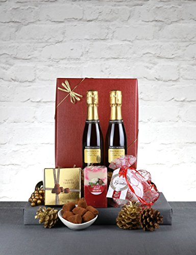 Christmas Prosecco Gift Hamper - Let it Snow. Mini Fizz, Chocs and Spa Treats