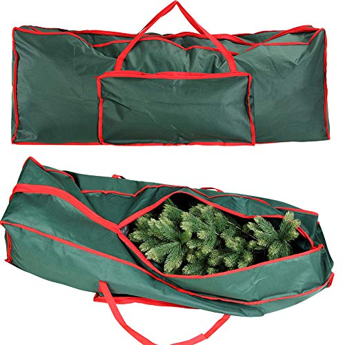 Bakaji custodia per albero di natale sacco porta alberi in tessuto poliestere rivestito in pvc con tasca e manici dimensione 125 x 30 x 50 cm colore verde e rosso