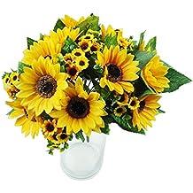 bibabo257cabezas Artificial girasol artificial ramo de flores de seda Home boda decoración de flores