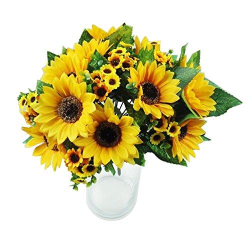 bibabo257Köpfe Fake Sonnenblume Künstliche Blume Bouquet Home Hochzeit Floral Decor