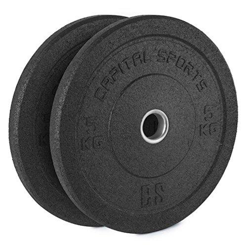 CapitalSports Renit Hi Temp Bumper Plates Discos de Pesa 2 x 5 kg Weight Drops Centro de Aluminio 50,4...