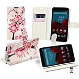 Emartbuy® Vodafone Smart Prime 6 Brieftaschen Wallet Etui Hülle Case Cover aus PU Leder Rosa Blossom mit Kreditkartenfächern